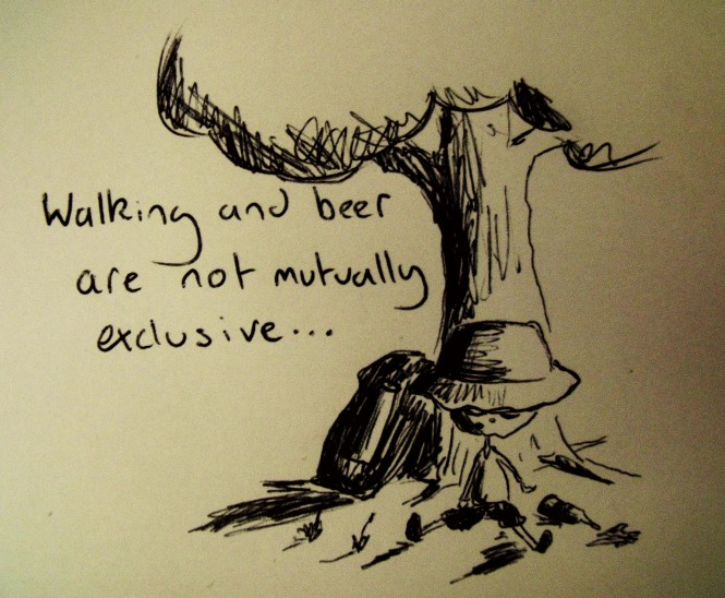 Walking and beer are not mutually exclusive