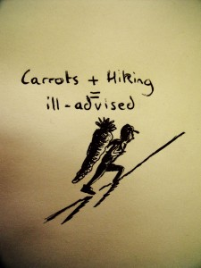 Carrots + Hiking = ill-advised