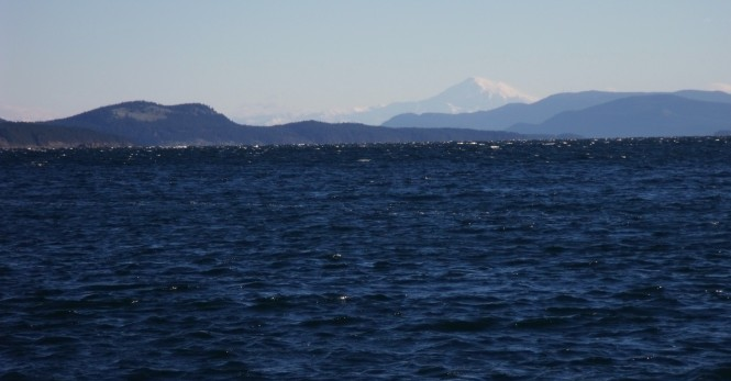 Looking east from Vancouver Island towards Mount Baker