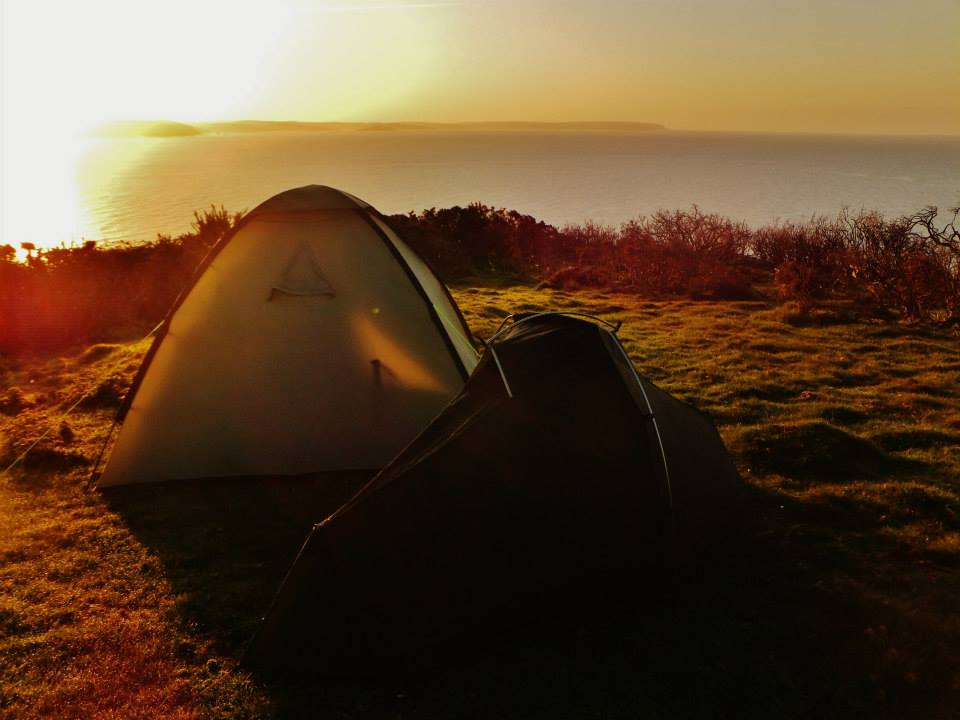 Camping in a farmer's field on the South West Coast Path, England