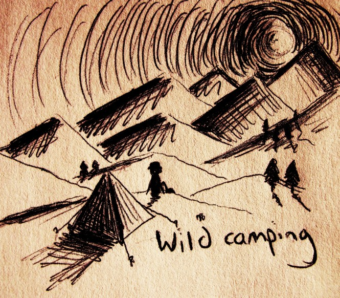Wild camping on a multi-day hike