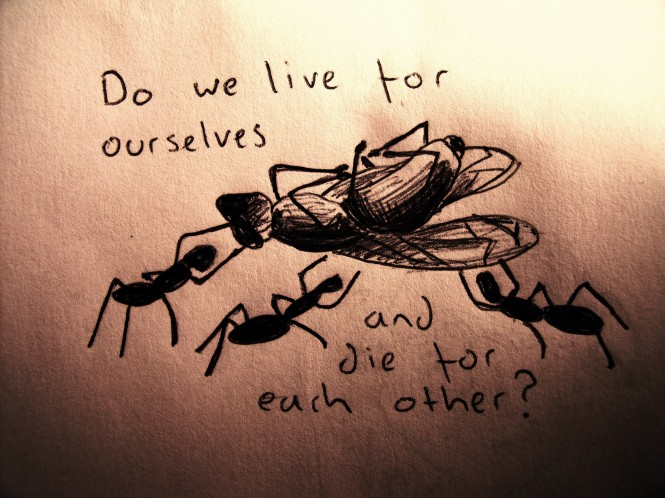 Do we live for ourselves and die for each other?
