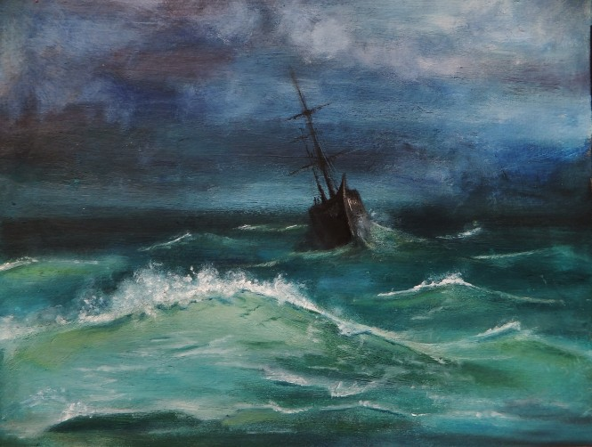 Storm Ship, oil on board (Daniel Graham)